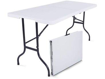Tables pliantes de camping 180cm 8 places blanches - 180cm x 74cm x 75cm
