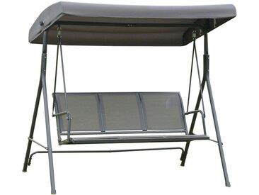 Balancelle de jardin 3 places grand confort toit imperméabilisé inclinaison réglable assise et dossier ergonomique acier textilène gris