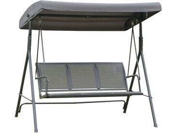 Balancelle de jardin 3 places grand confort toit inclinaison réglable assise et dossier ergonomique acier textilène gris