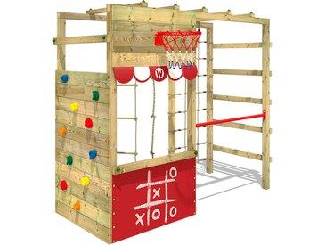 Aire de jeux bois WICKEY Smart Action avec boutique et échelle horizontale - Rouge