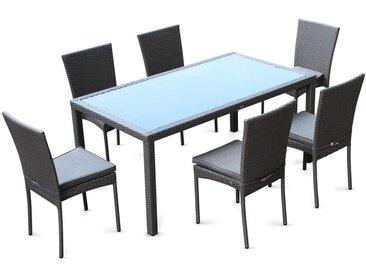 Salon de jardin en résine tressée 6 chaises, Gris, table d'extérieur design