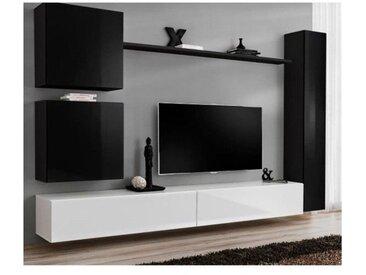 Ensemble meuble salon mural SWITCH VIII.Meuble TV mural design, coloris blanc et noir brillant. - Blanc