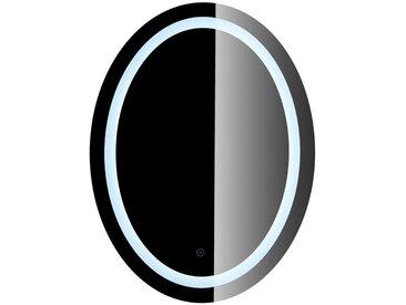 Miroir de Maquillage Miroir Rond Mural + Éclairage LED et Interrupteur Tactile 80*60*4.5cm