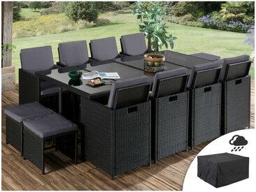 Sophia - Salon de jardin encastrable 12 places - en résine tressée - Noir avec coussins gris + Housse de protection Couleur - Noir - Noir / Gris