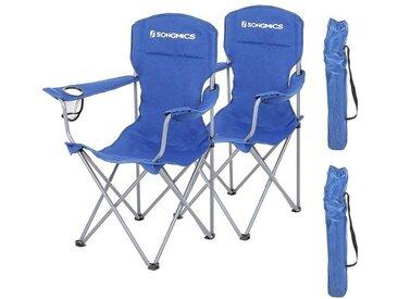 Lot de 2 Chaises de Camping, Confortable, Structure Robuste, Charge Max de 150 kg, avec Porte-Bouteille, Chaise d'extérieur Bleu GCB08BU