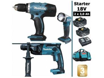 Pack Makita Starter 18V: Perceuse 42Nm DDF453 + Perforateur 1,3J DHR165 + Lampe torche DEADML802 + 2 batteries 3Ah + sac MAKITA