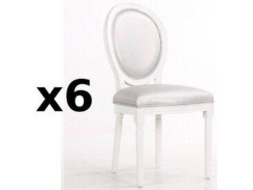 Lot de 6 chaises médaillon VERSAILLES style louis XVI polyuréthane gris