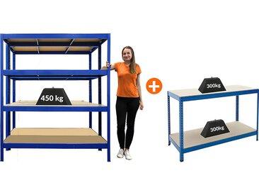 Mega Deal | 2x étagères métalliques pour charges lourdes - Profondeur 60 cm - Charge max : 450 kg et 1x établi