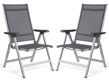 COSTWAY Lot de 2 Chaises de Jardin Pliantes avec Accoudoirs Réglable en 5 Positions Chaise de Camping d'Extérieur Cadre en Aluminium Noir Gris 69cm x 60 cm x 110cm Charge Max.150KG
