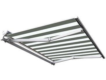 Store banne manuel Demi coffre pour terrasse - Blanc gris - 3,6 x 3 m