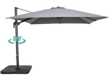 Parasol déporté carré 3 m en aluminium - Gris