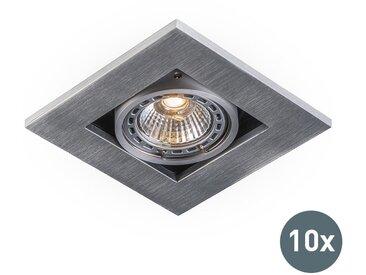 Lot de 10 spots encastrés Modernes aluminium épaisseur 3 mm - Qure Moderne Luminaire interieur - Qazqa