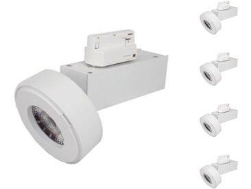 Spot LED sur Rail 12W 38° Monophasé BLANC (Pack de 5) - Blanc Neutre 4000K - 5500K