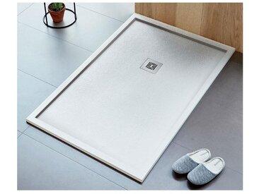 Receveur de douche 80 x 160 cm extra plat LOGIC ENCADRE surface ardoisée, rectangulaire blanc