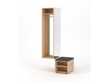 CLOVER | Meuble d'entrée avec miroir + penderie + banc | 150x40x50 cm | Meuble à chaussures Vestiaire style scandinave | Blanc/Chêne