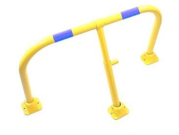 Arceau parking jaune bandes bleues - arceau anti-stationnement avec serrure intégrée