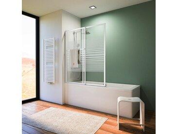 Pare-baignoire coulissant et rabattable, 70 - 118 x 140 cm, Schulte paroi de baignoire extensible 2 volets, verre 3 mm, profilé blanc, décor rayures horizontales - Décor rayures horizontales