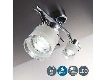 Plafonnier salle de bain LED éclairage lampe plafond sdb métal / verre 2 spots orientables IP44 GU10