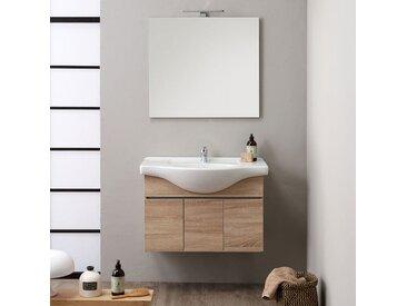 Armoire De Toilette Suspendue Cm.85 Avec 3 Portes Silvia Chêne Well