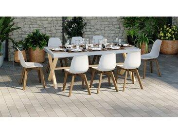 Homifab - Table de jardin 8 personnes effet béton et pieds bois massif - Collection Robin - Gris
