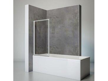 Schulte - Pare-baignoire rabattable, sans percer, écran de baignoire pivotant à coller, paroi de baignoire verre 3 mm transparent, profilé alu argenté, 1 volet, 70 x 120 cm - Transparent