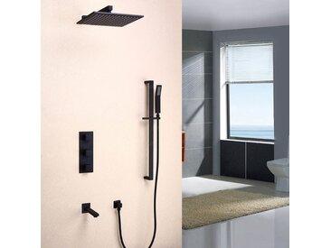 Système mural noir thermostatique de douche en pluie avec kit de douche de main et remplisseur de Bain en laiton massif Valve de douche standard Barre de douche 200 mm