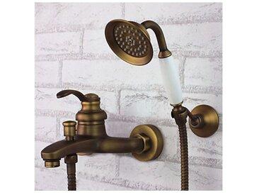 Robinet de douche et baignoire en laiton antique, fixation mural