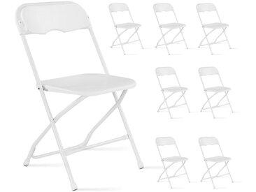 Chaise pliante blanc - Lot de 8