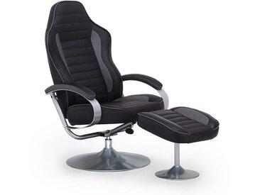 JEFF - Fauteuil de relaxation pivotant avec repose pied noir racing