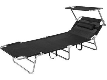 Chaise Longue Bain de Soleil Transat de Relaxation Pliant Chaise de Camping Inclinable, Pliable et Réglable