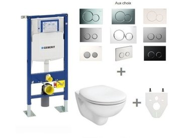 Pack WC suspendu Geberit autoportant | Abattant standard - Sigma01 chromé brillant
