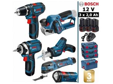 Pack 12V 6 outils: Perceuse GSR 12V-15 + Rabot GHO 12V-20 + Visseuse à chocs GDR 12V-105 + Scie sabre GSA 12V-14 + Découpeur-ponceur GOP 12V-28 + Lampe GLI 12V-80 + 3 batt 2Ah BOSCH