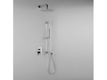 Composition ARES (code 41301) avec tête de douche ultra-mince, barre de douche, douchette et mitigeur – 2 sorties-