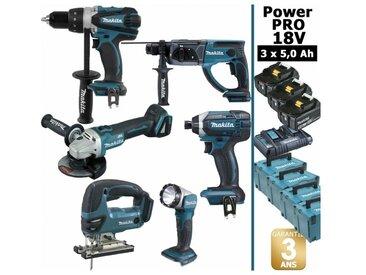 Pack Power PRO 6 outils 18V: Perceuse DDF458 + Perfo DHR202 + Meuleuse DGA504 + Visseuse à chocs DTD152 + Scie sauteuse DJV180 + Lampe Torche LED + 3 batt 5Ah + 4 Coffrets Makpac MAKITA