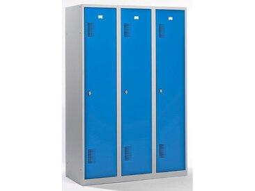 QUIPO Vestiaire - largeur 1200 mm, 3 compartiments de 398 mm, dispositif porte-cadenas - corps gris clair / portes bleu