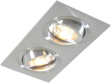 Spot Encastrable / Plafonnier en aluminium inclinable - Serrure 2 Qazqa Design, Moderne Cage Lampe Luminaire interieur