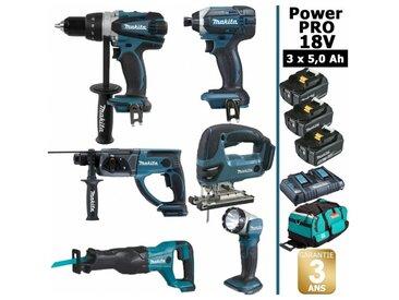 Pack Makita Power PRO 6 outils 18V: Perceuse DDF458 + Perforateur DHR202 + Visseuse à chocs DTD152 + Scie sauteuse DJV180 + Scie récipro DJR186 + Lampe Torche LED + 3 batt 5Ah + sac MAKITA