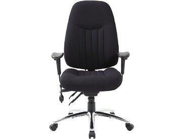 Chaise d'atelier pivotante Alpha - avec accoudoirs et habillage tissu, noir - Coloris habillage: noir