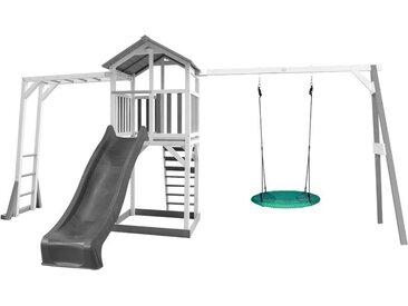 """Beach Tower avec structure de jeu et balançoire Nid """"Summer """" , blanc/gris - avec toboggan gris"""