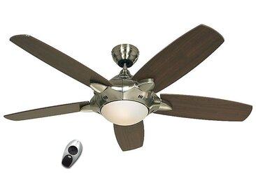 Ventilateur de plafond MERCURY - Ø hélice 1320 mm, avec télécommande - laque argent / noyer / chrome brossé