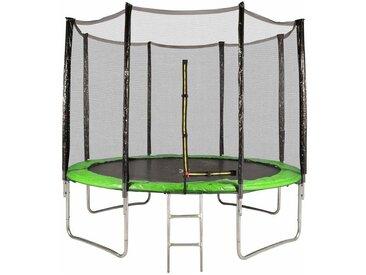 Trampoline de Jardin avec Filet Exterieur, diamètre 10 Ft / 305 cm - 8 perches, Couleur au choix (Vert)