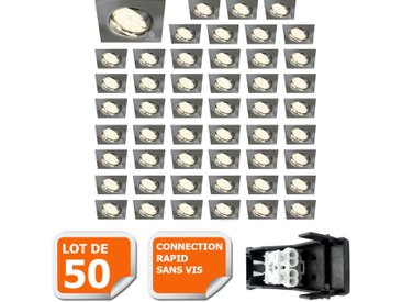 LOT DE 50 SPOT ENCASTRABLE ORIENTABLE LED CARRE ALU BROSSE GU10 230V eq. 50W BLANC CHAUD