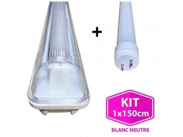 Kit Tube LED T8 23W Blanc Froid + Boitier Etanche 150cm