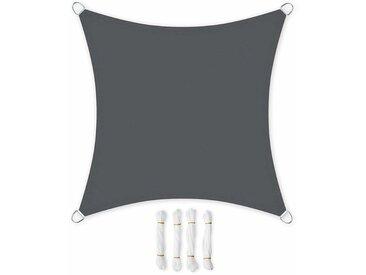5 x 5m Voile d'ombrage en PES pour Le Jardin Résistante aux intempéries Protection Solaire Polyester Carré Gris GSH55GY