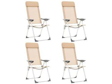 Hommoo Chaises de camping pliables 4 pcs Crème Aluminium