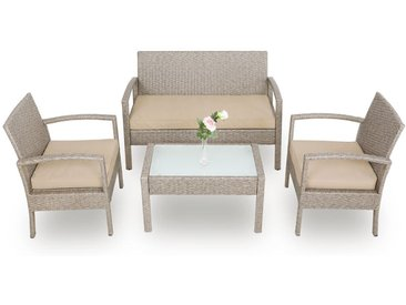 Deuba - Salon de Jardin - en polyrotin - set fauteuil, canapé et table + coussins - Gris/Beige, plateau verre - Hydrofuge, résistant aux intempéries et UV, jardin terrasse