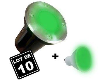 10 Spots Encastrables de Sol Rond Inox 304 Exterieur IP65 + Ampoules GU10 7W VERT