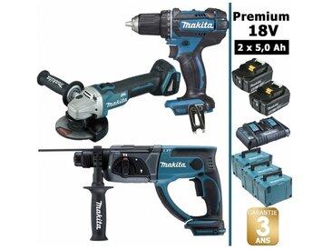 Pack Makita Premium 18V 5Ah: Perceuse 62Nm DDF482 + Meuleuse 125mm DGA504 + Perforateur 2J DHR202 + 2 batteries + 3 MakPac MAK3220RTJ MAKITA