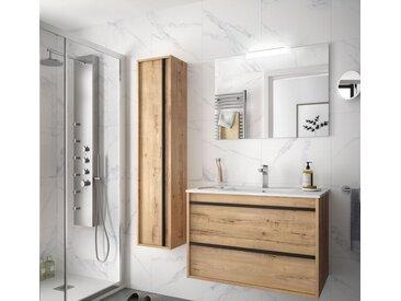 Meuble de salle de bain suspendu 80 cm Nevada en bois couleur chêne ostippo avec lavabo en porcelaine | 80 cm - Avec colonne, miroir et lampe LED