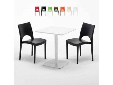 Table carrée 60x60 blanche avec 2 chaises colorées PARIS LEMON | Noir